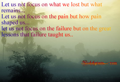 Let us not focus on what we lost but what remains…Let us not focus ...