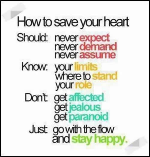 Heart Quotes :  Inspirational Quotes, Motivational Thoughts and Pictures ,health tips,health inspiration,expect ,demand,assume,limits,stand, role,affected,jealous,paranoid,happy