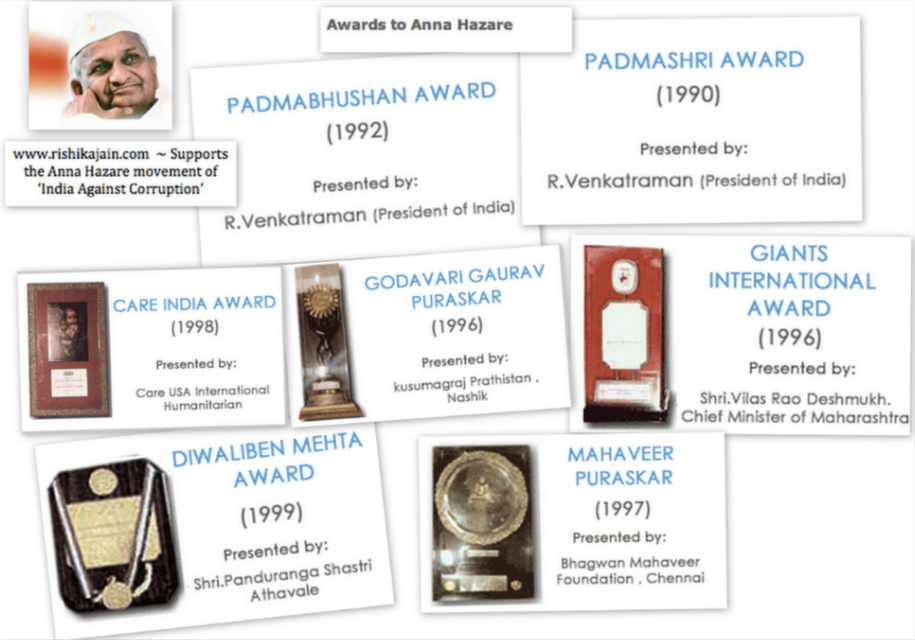 anna hazare, awards, lokpal, india against corruption, arvind kejriwal, jan lokpal,