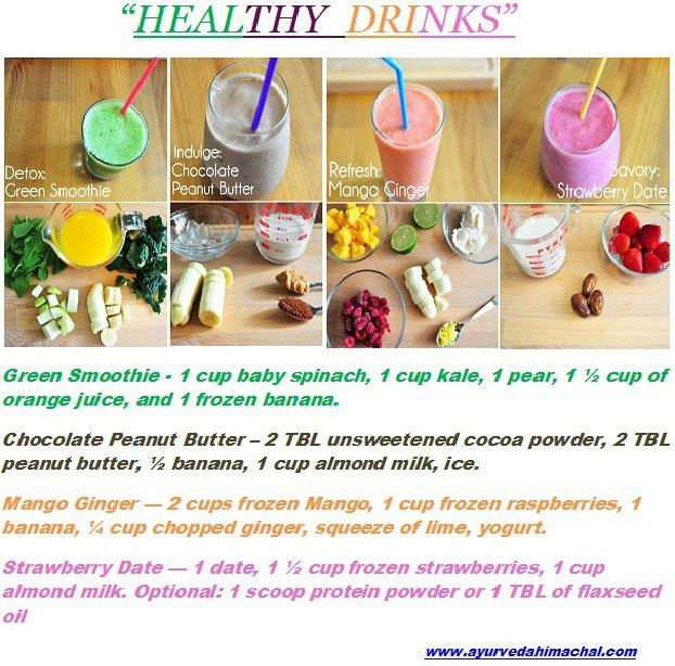 Healthy Drinks Recipes ,health tips,Green smoothie,chocolate peanut,mango ginger,strawberry date,