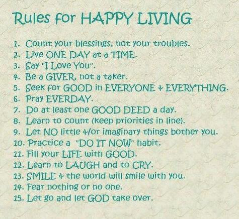 Rules for Happy Living, Good Morning Quotes, Happiness,Inspirational Pictures, Motivational Thoughts