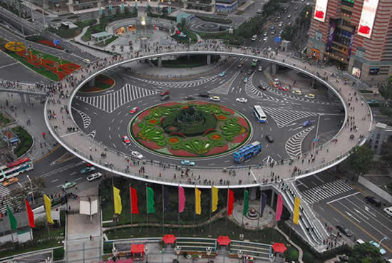 Beautiful Places in the world to visit ,Circular Pedestrian Bridge In Lujiazui, China