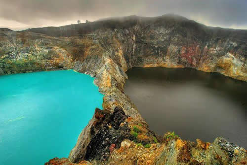 Top world tourism ; Kelimutu, Three colored Lakes, Flores, Indonesia