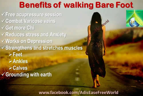 Benefits of walking bare foot