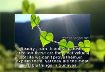 Beautiful Quote on Beauty , Truth , Friendship , Life , Picture Thoughts