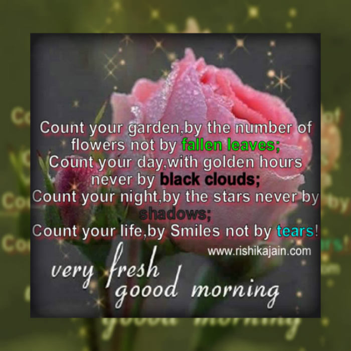 Good Morning Touching Quotes: Good Morning...Count Your Garden,by The Number Of Flowers