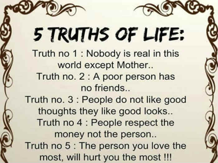 Inspirational Thoughts About Life Impressive 5 Truths Of Life  Inspirational Quotes  Pictures  Motivational