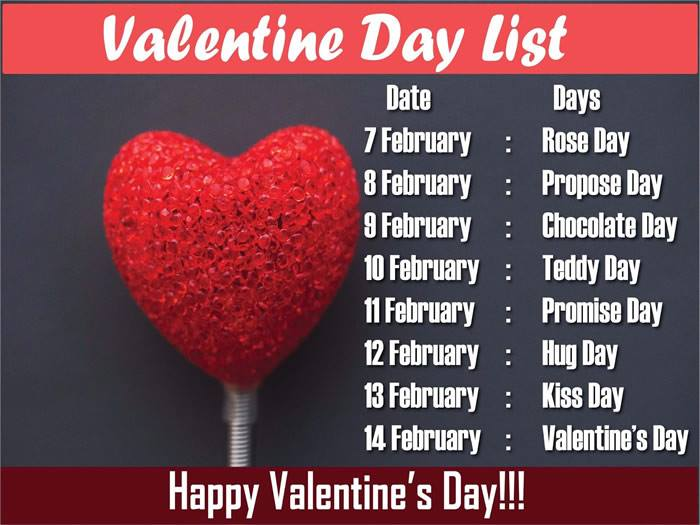 7 Days Before Valentines Day,images,quotes,messages,Rose Day, Chocolate Day, Propose Day, Teddy Day, Promise Day,Hug Day, Kiss Day