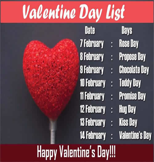 7 Days Before Valentines Day; Rose Day, Chocolate Day, Propose Day, Teddy Day, Promise Day,Hug Day, Kiss Day