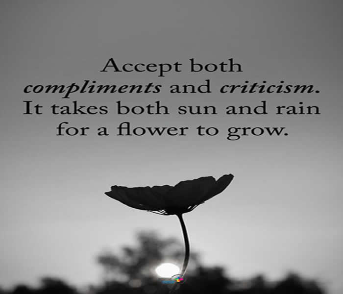 Accept both compliments and criticism